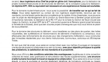 Ing. / Chef(fe) de projet en G.C Infrastructure (H/F)